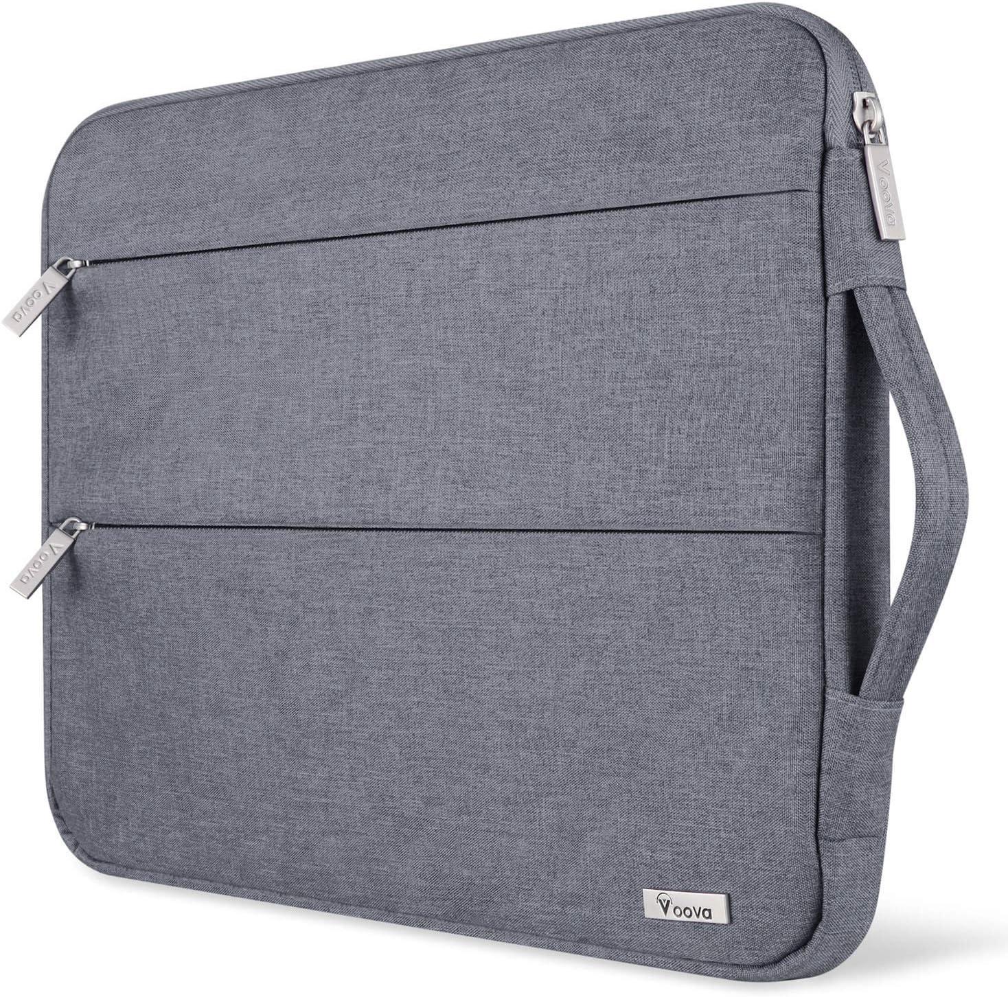 Voova Funda Portátil 11 11.6 12 Pulgadas Impermeable para Computadora de Múltiples Bolsillos, Compatible con MacBook Air,Chromebook,Surface ProX/7/6/5/4/3, iPad Pro 12.9 con Asa,(Gris)
