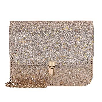 Childplaymate Shining PU Women Chain Messenger Bags Shoulder Sequins  Handbags Gold  Amazon.in  Bags b9bec44c798a