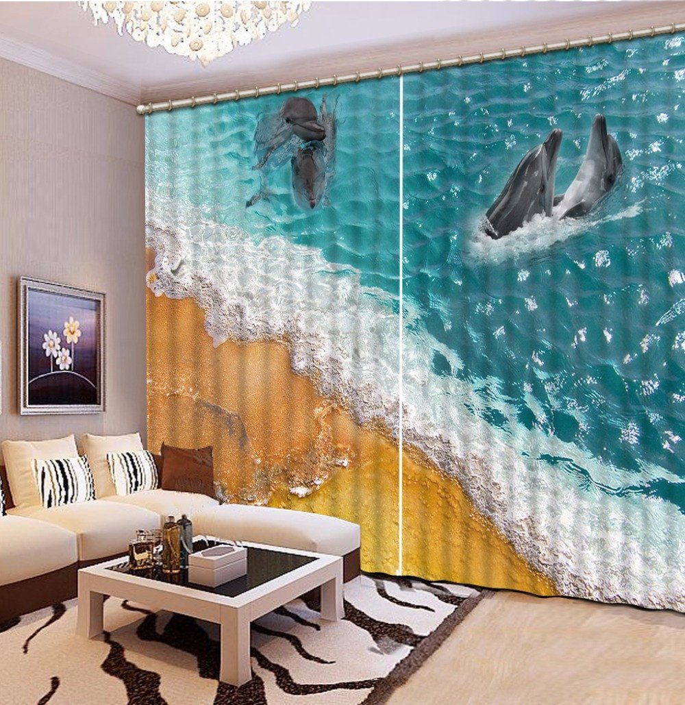 Wapel Cool Beach Shell 3D Curtains Dolphin The Home Hotel Cafe Office Window Curtain Printing Kids Room Curtains 240X260CM