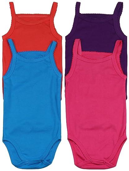 ToBeInStyle Baby Girls 4 Pack Spaghetti Strap Bodysuit Onesies