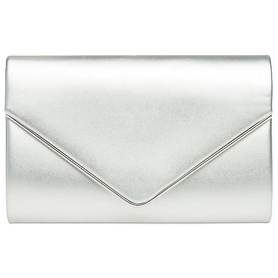 81e8108b8293 CASPAR TA373 Sac à main clutch enveloppe élégant pour femme - Pochette de  soirée avec longue