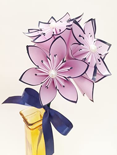 Amazon Set Of 6 Lilac Navy Blue Paper Flowers Traditional