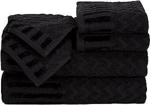 Lavish Home 6-Piece Cotton Deluxe Plush Bath Towel Set – Chevron Patterned Plush Sculpted Spa Luxury Decorative Body, Hand and Face Towels (Black)