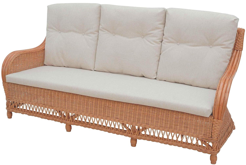 korb.outlet Bequemes 3-Sitzer Rattan-Sofa, Wintergarten Korbsofa inkl. Sitz- und Rückenpolster Beige/Lounge-Sofa/Wohnzimmer Couch aus echtem Rattan (Terracotta)