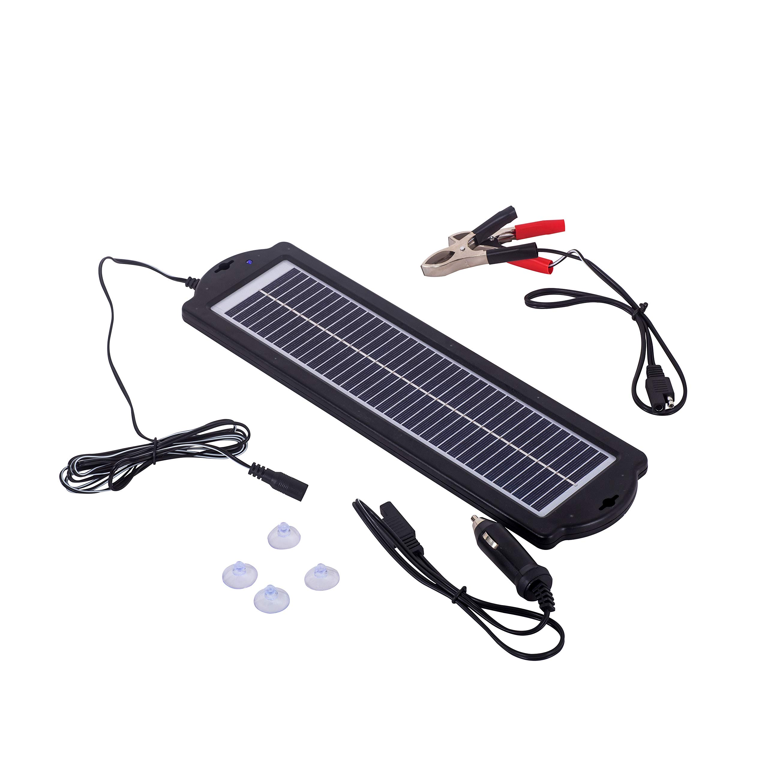 Betop-camp 3W 12V Car Battery Trickle Charger Waterproof Portable High Conversion Single Crystal Solar Panel with Cigarette Lighter Plug,Battery Charging Clip Line,Suction Cups for Rv Motorcycle Boat