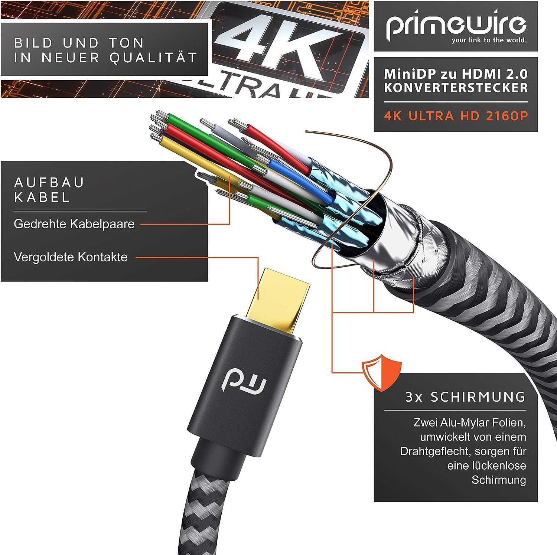Lenovo Notebook Audio e video Microsoft Surface Pro proiettore Adattatore da Mini DisplayPort a Hdmi 2.0 da 4 K a 60 Hz CSL Thunderbolt 1-2 monitor adatto per MacBook Air//Pro