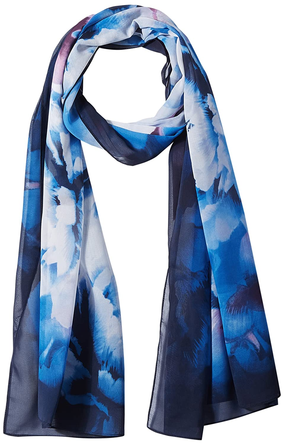 Calvin Klein Women's Midnight Floral Chiffon Scarf Accessory, navy, One Size