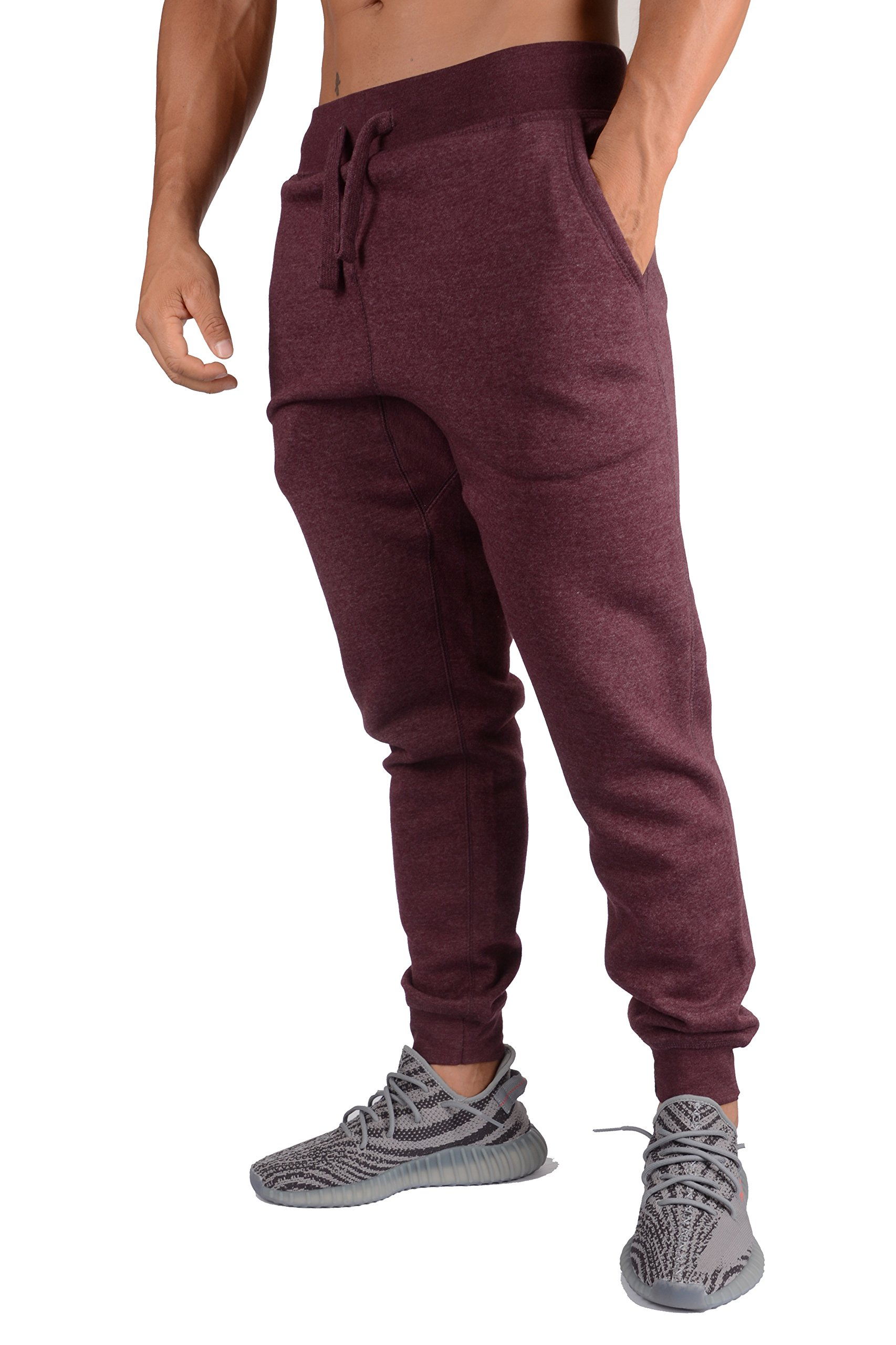YoungLA Mens Slim Fit Joggers Fitness Activewear Sports Fleece Sweatpants for Gym Training Burgundy Heather Small by YoungLA (Image #3)