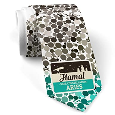 Neck Tie with Star Constellation Name Aries - Hamal  White