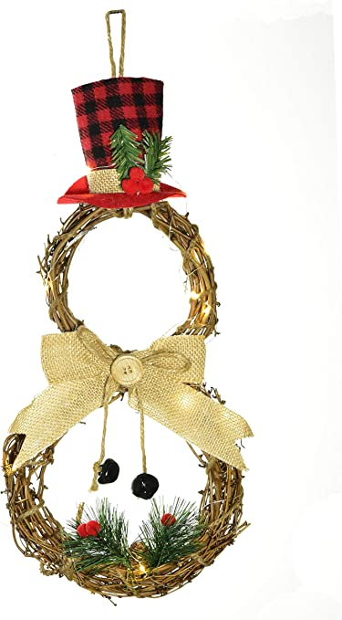 Christmas Snowman Wreath Front Door Hanging Decor 16inch Xmas Wreath Grapevine Wreath For Holiday Christmas Decorations Home Kitchen