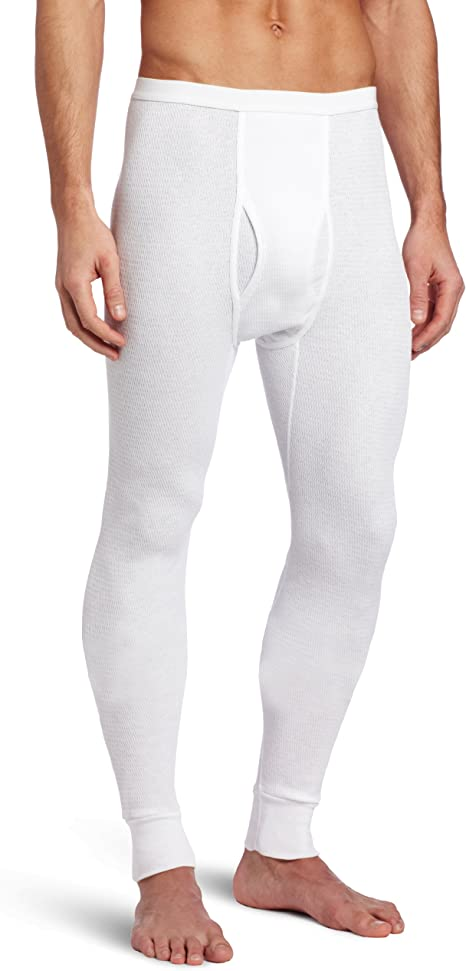 White Medium Indera Mens Cotton Rib Knit Thermal Underwear Pant