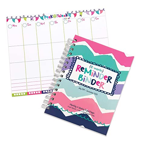 2019-2020 (18-Month) Reminder Binder Planner & Weekly Planning Pad - Weekly & Monthly Horizontal Layout, 6.5