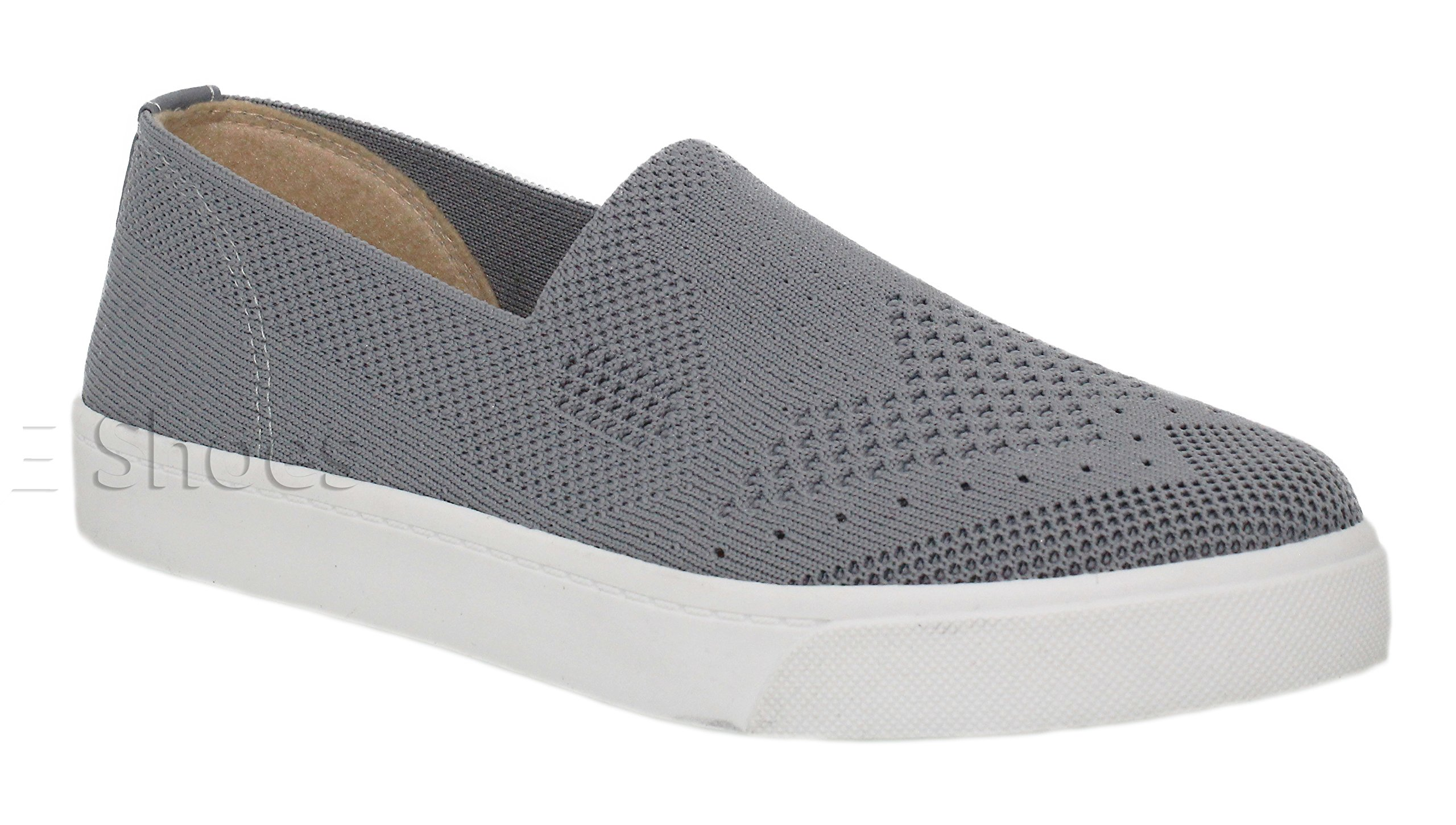 MVE Shoes Women's Fashion Sneakers - Comfort Slip on Shoes - Classic Loafers for Summer, Grey Size 7