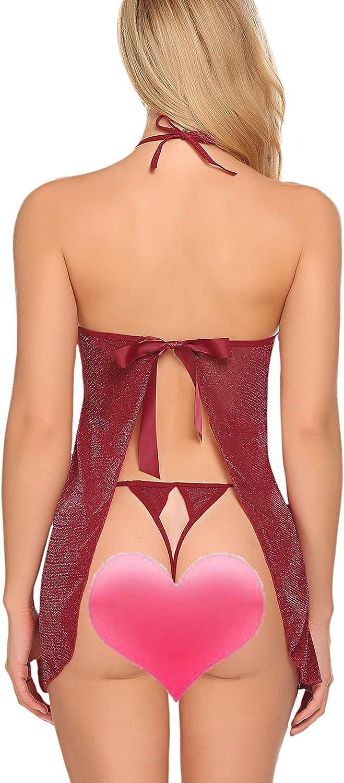 Avidlove Women Lace Babydoll Mesh Lingerie Halter Chemise V Neck Outfits