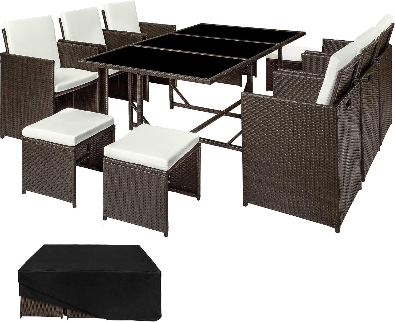 TecTake Conjunto muebles de jardín en ratán sintético | 1 Mesa + 6 Sillones + 4 Taburetes | Cubierta antilluvia | disponible en diferentes colores (Marrón antigüedad | no. 402830)