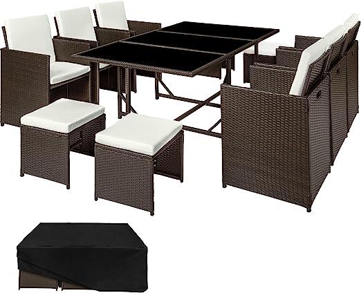 TecTake Conjunto muebles de jardín en ratán sintético | 1 Mesa + 6 Sillones + 4 Taburetes | Cubierta antilluvia | disponible en diferentes colores (Marrón antigüedad | no. 402830): Amazon.es: Jardín