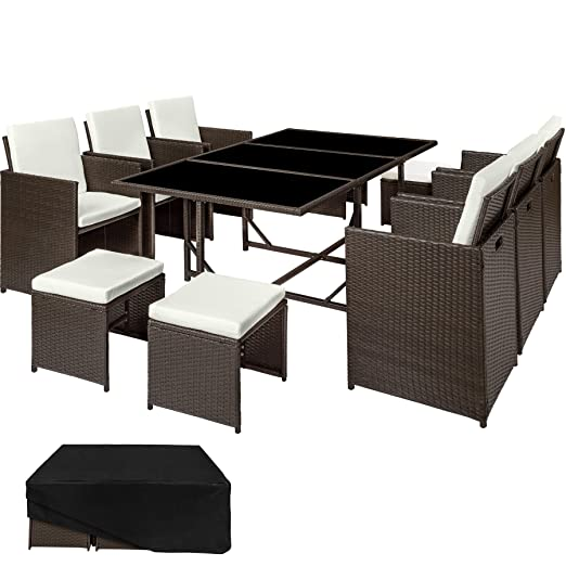 TecTake Conjunto muebles de jardín en ratán sintético | 1 Mesa + 6 Sillones + 4 Taburetes | Cubierta antilluvia | disponible en diferentes colores ...