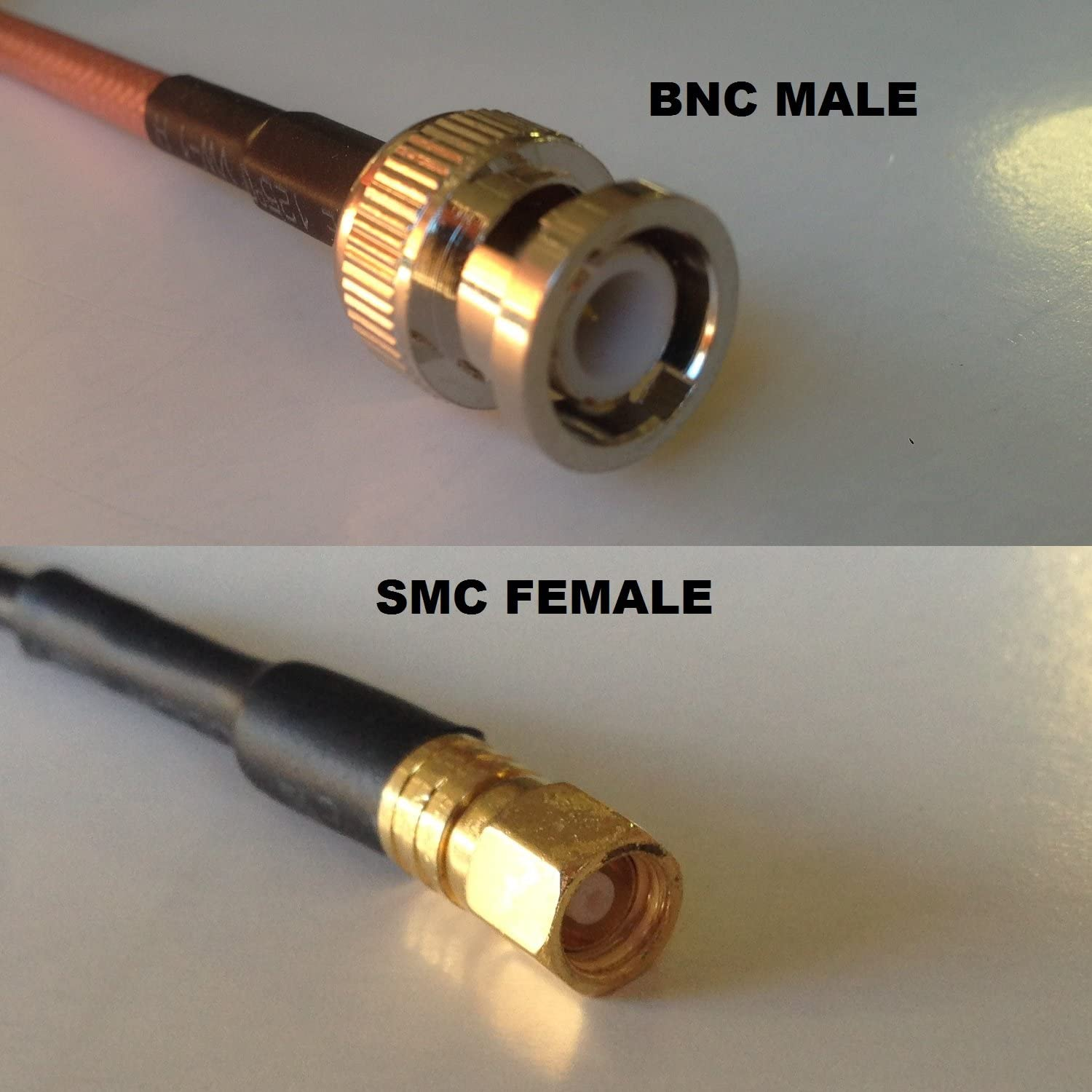12 inch RGU178 BNC MALE to SMC FEMALE Pigtail Jumper RF coaxial cable 50ohm Fast USA Shipping