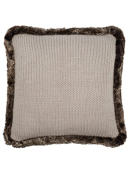 Mco Home Square Filled Chunky Knitted Pattern Faux Fur Trim Cushion