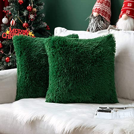 MIULEE Christmas Faux Fur Fluffy Cushion Covers Faux Fur Throw Pillow Case Soft Decorative Square Cute Pillow Plush Case For Livingroom Sofa Bedroom 18 x 18 Inch 45 x 45 cm Dark Green Pack of 2: Amazon.co.uk: Kitchen & Home