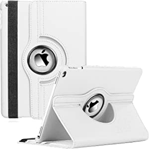 CenYouful iPad Case Fit 2018/2017 iPad 9.7 6th/5th Generation - 360 Degree Rotating iPad Air Case Cover with Auto Wake/Sleep Compatible with Apple iPad 9.7 Inch 2018/2017 (White)