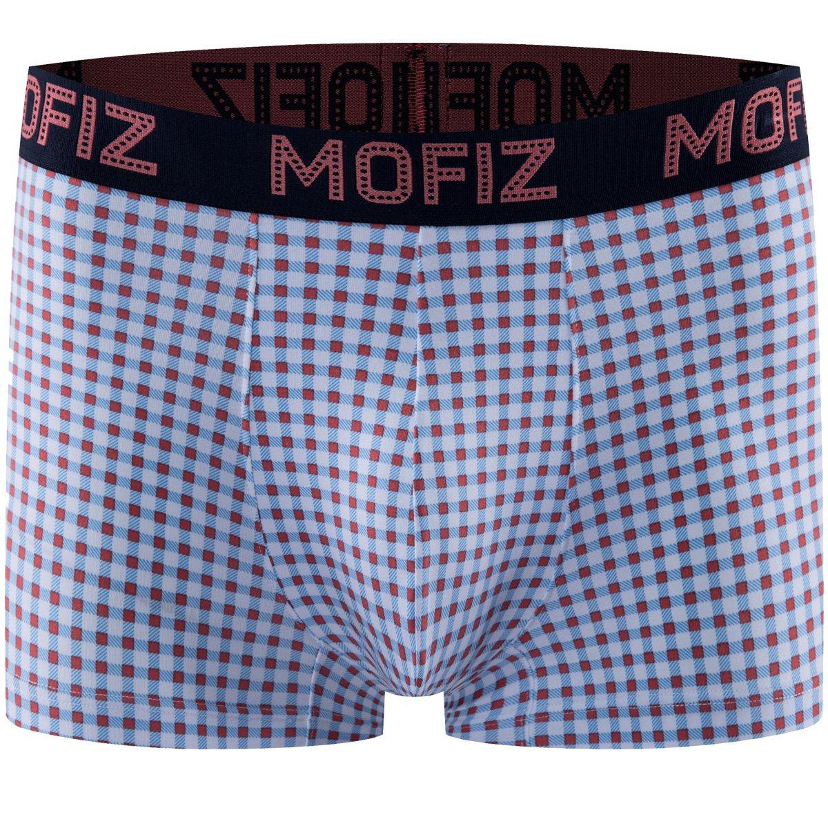 MoFiz Men's Underwear Performance Ultra Soft Modal Cotton Plaid Boxer Briefs