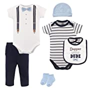 Little Treasure Baby 6 Piece Clothing Set, Dapper Bow Tie, 3-6 Months (6M)