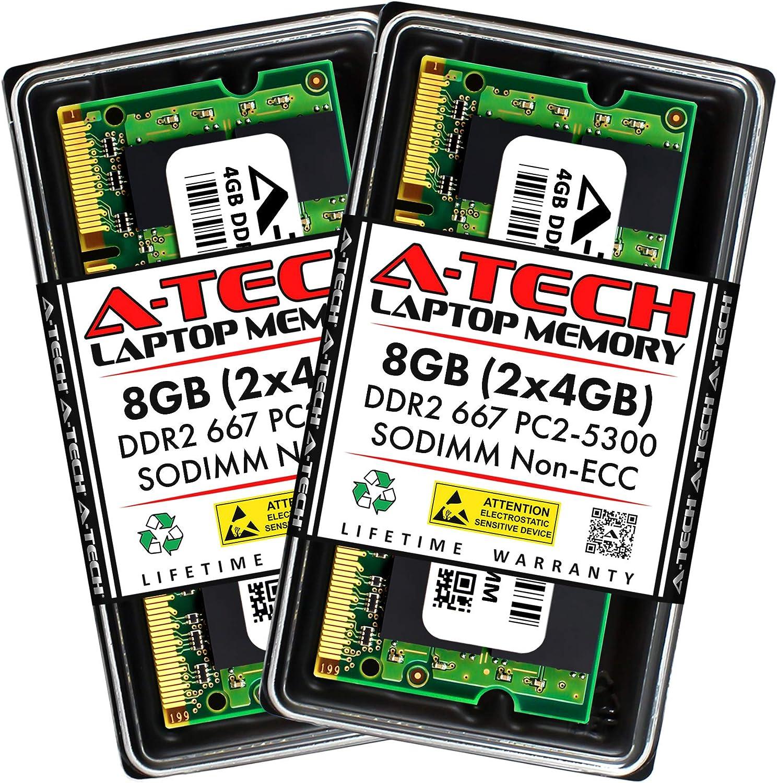 A-Tech 8GB (2x4GB) DDR2 667MHz SODIMM PC2-5300 1.8V CL5 200-Pin Non-ECC Unbuffered Laptop RAM Memory Upgrade Kit