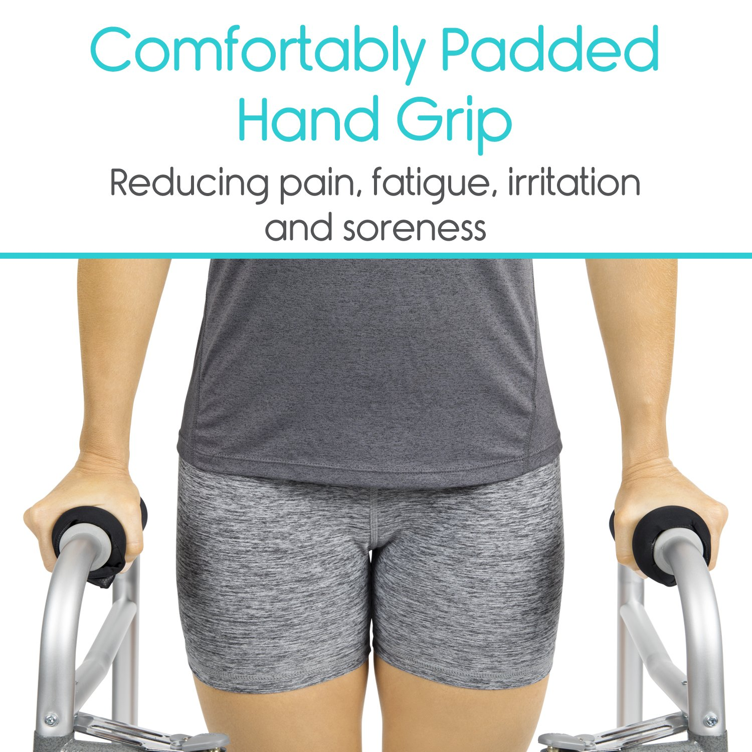 Vive Walker Padded Hand Grip Covers- Soft Cushion Padding Medical Accessories for Folding Rolling Walker, Rollator Handle, Senior, Elderly Grippers - Crutch Handle Pads - Mobility Aid Hand Cushion by Vive (Image #2)