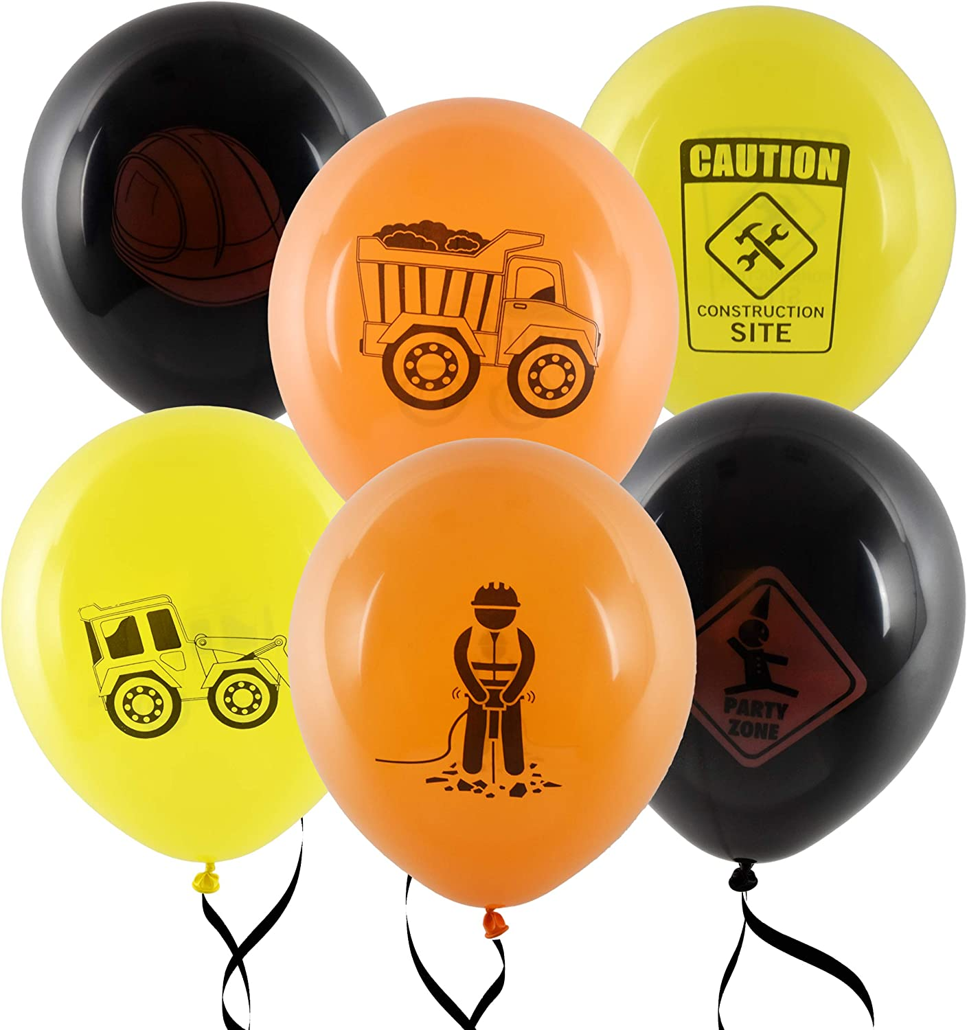 "36 Construction Balloons 12/"" Latex Balloon Yellow and Black Construction Zone Builder Balloon For Kids Birthday Party Favor Supplies Decorations by Gift Boutique"