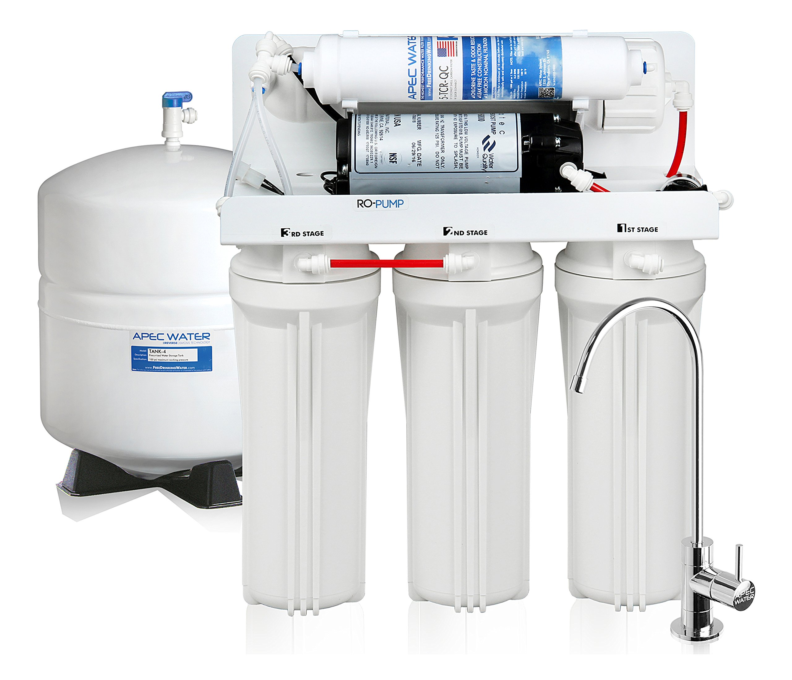 APEC Top Tier Ultra Safe Electric Pumped Reverse Osmosis Drinking Water Filter System for Low Pressure Homes, 0-30psi (RO-PUMP-120V, USA)