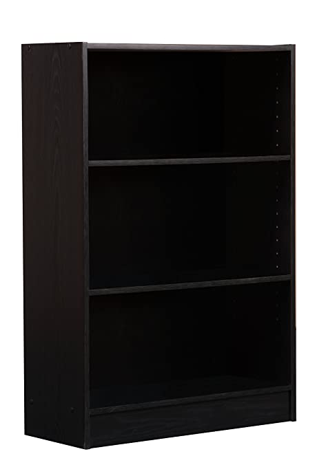 watch 00131 dbeaf Mylex Three Shelf Bookcase; Two Adjustable Shelves; 9.5 x 24.5 x 35.5  Inches, Black, Assembly Required (43004)