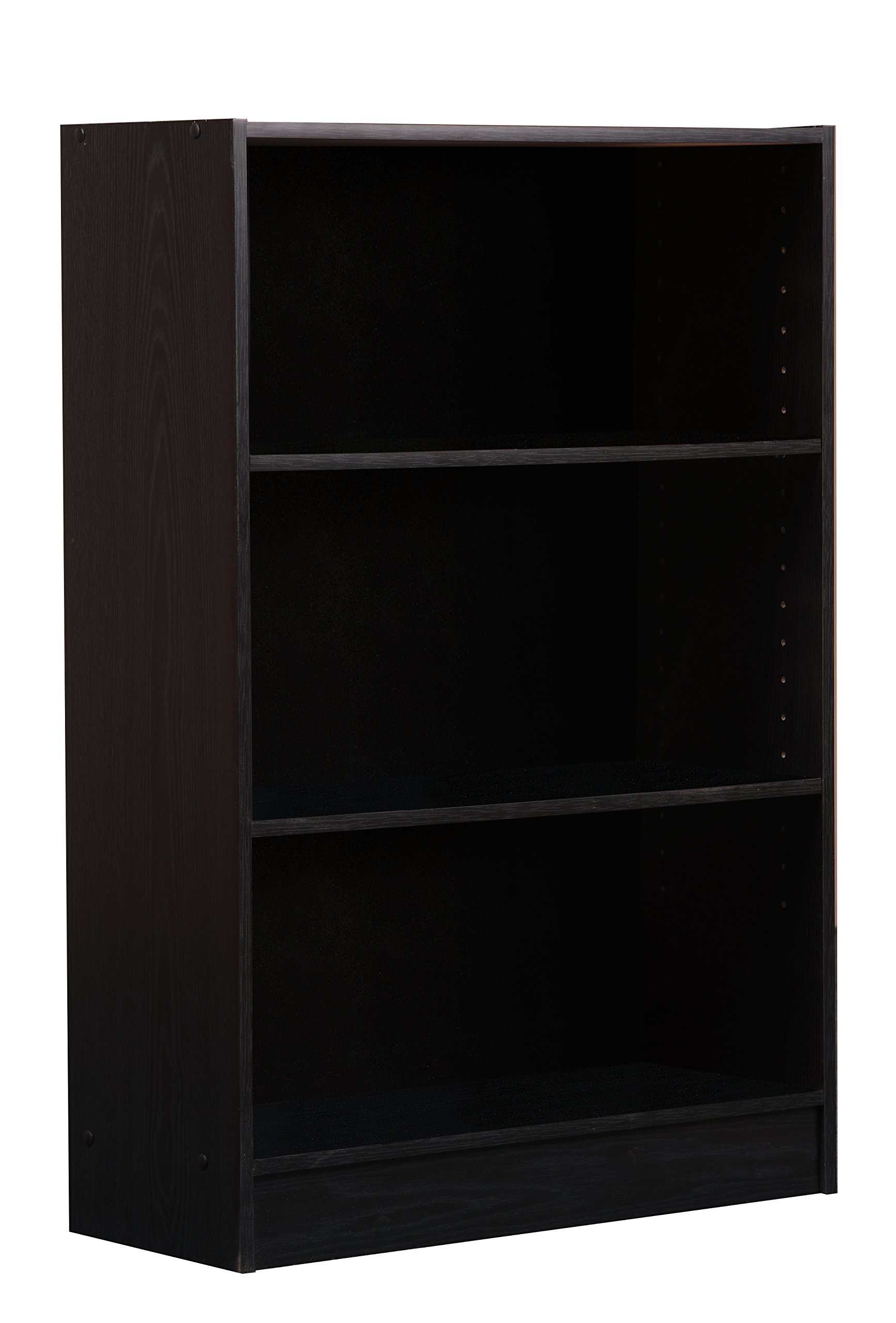 Mylex Three Shelf Bookcase; Two Adjustable Shelves; 9.5 x 24.5 x 35.5 Inches, Black, Assembly Required (43004)
