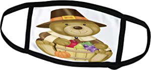 3dRose Cute Thanksgiving Bear with A Barrel of Fall Food Illustration - Face Covers (fc_216823_3)