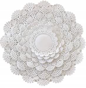 Wedding Tableware Decoration DailyTreasures 350Pcs Lace Doilies Paper-Assorted Size Decorative Doilies Placemat- Eco-Friendly for Cake Desert Round, Rectangle, Heart, Oval-8.5,6.5
