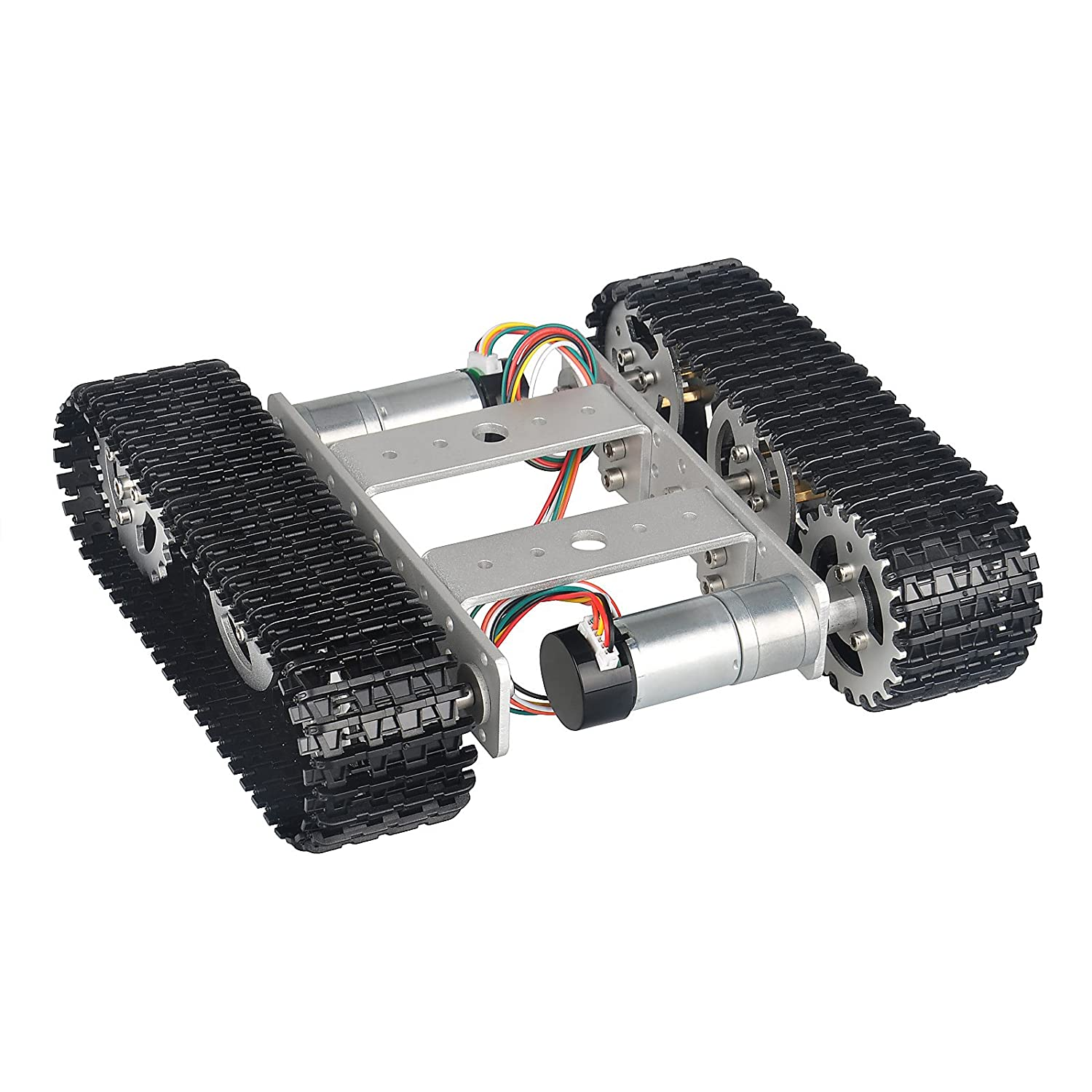 B0746FYXYQ MOUNTAIN_ARK Tracked Robot Smart Car Platform Aluminum Alloy Chassis with Dual DC 9V Motor for Arduino Raspberry Pi DIY 81rgW2FPHeL