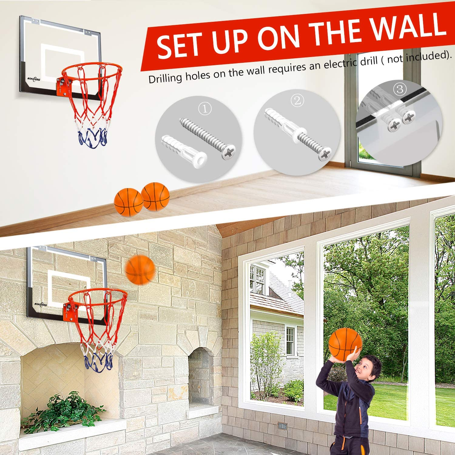 NONZERS Mini Basketball Hoop for Door & Wall, Indoor Mini Basketball Hoop Set for Home and Office Games, Includes 2 Mini Basketballs and Hand Pump, Mobile Mini-Hoop Gift for Kids Boys Girls: Toys & Games