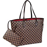 Daisy Rose X Katy Roach Checkered Tote Shoulder Bag with inner pouch - PU Vegan Leather