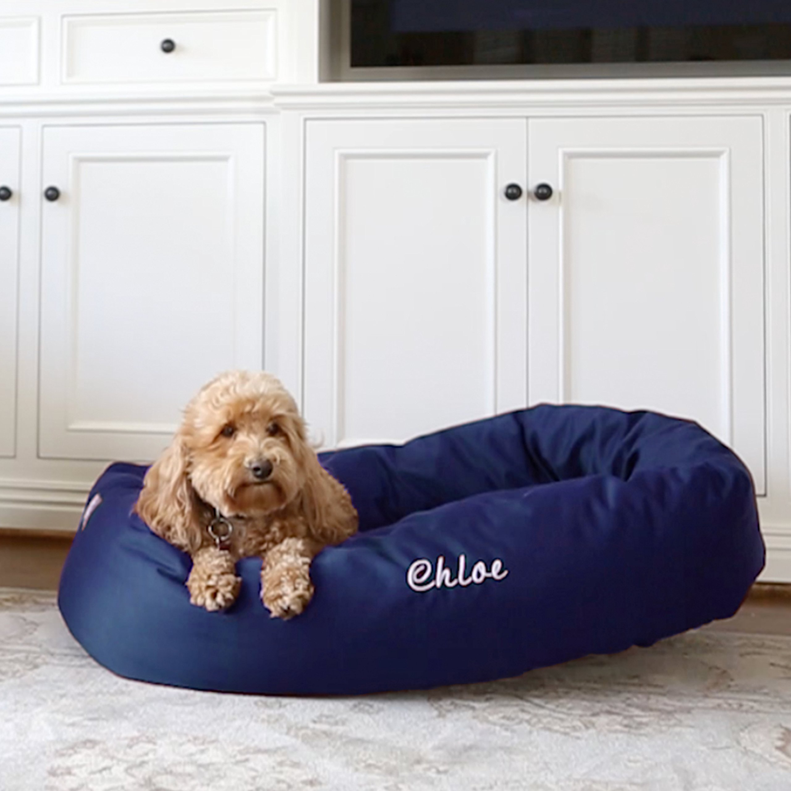 Majestic Pet Personalized Bagel Dog Bed - Machine Washable - Soft Comfortable Sleeping Mat - Durable Bedding Supportive Cushion Custom Embroidered - Available Replacement Covers - Extra Large Blue