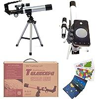 EB Space Kid's Explorer Telescope Gift Kit w Eco Carry Case | Children & Astronomy Beginner | Tabletop Tripod | Compass…