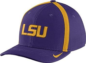 9e289daa243 ... real nike mens lsu tigers purple aerobill swoosh flex classic99  football sideline hat 8fb24 c63d0