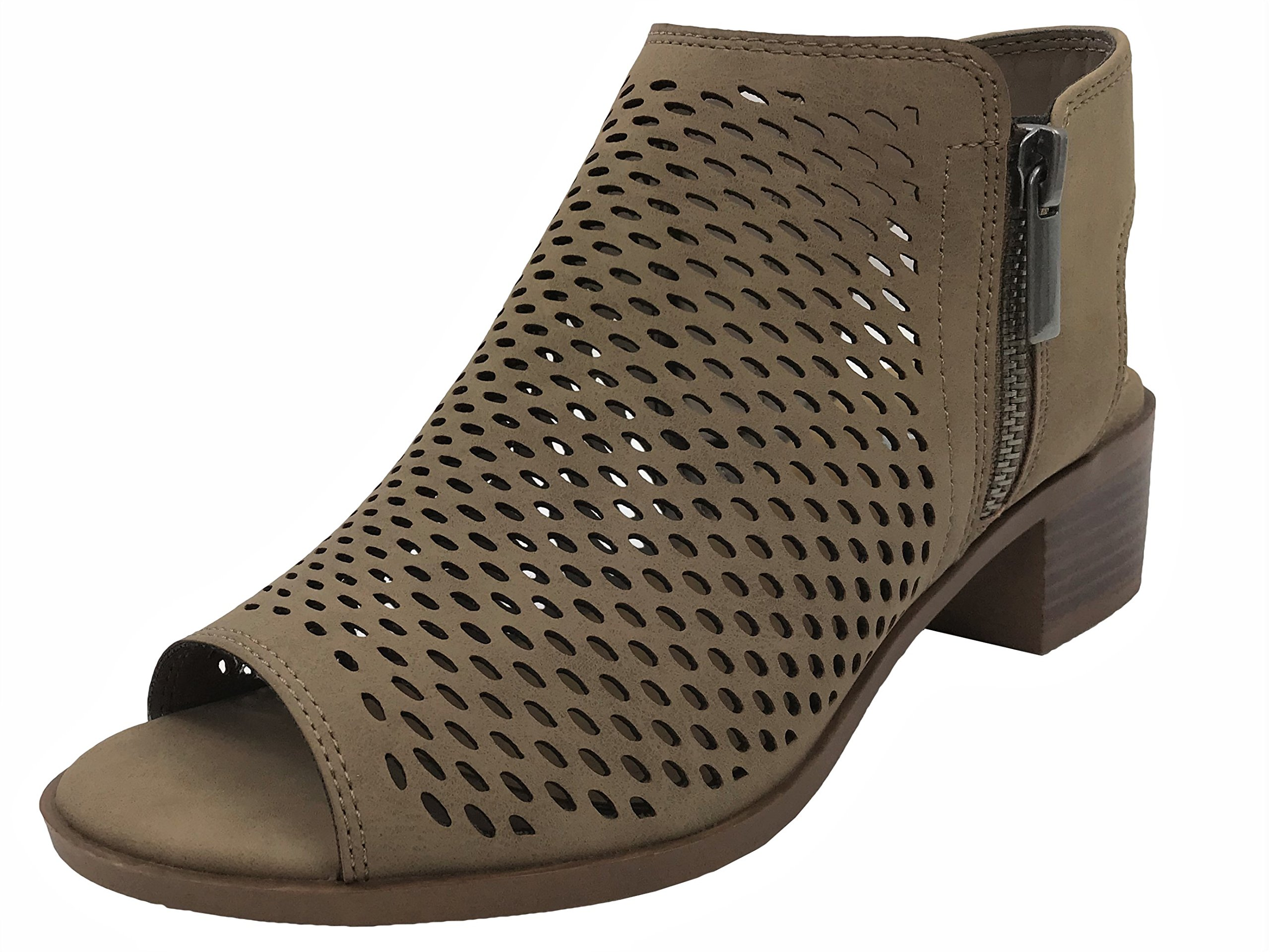 Soda Open Toe Ankle Strap Bootie Sandal Low Heel Perforated Cutout, Taupe, 8