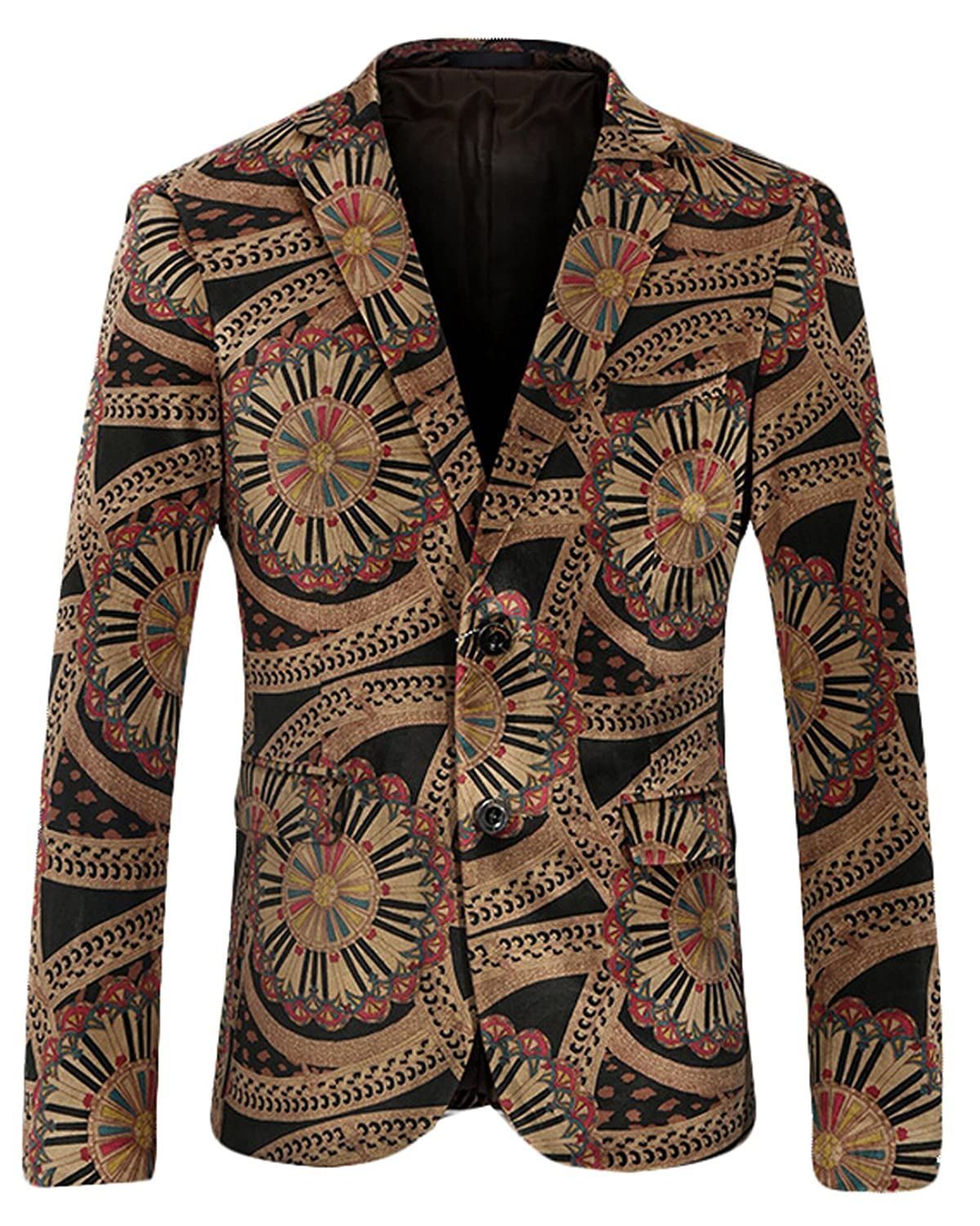 Acquaa Mens Button Floral Printed Playboy Career Blazer Jacket