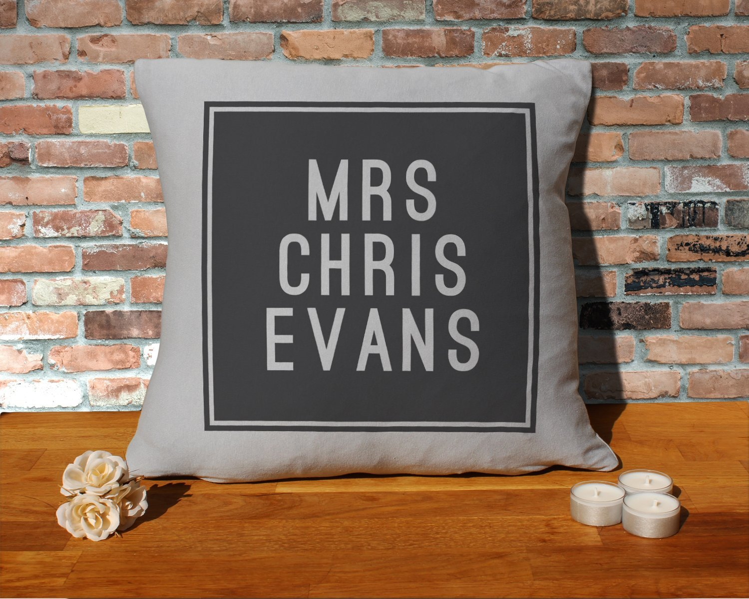 Chris Evans Cushion Pillow - Silver Grey - 100% Cotton - Available with or without filling pad - 40x40cm (Cover and filling pad) The Stocking Fillers