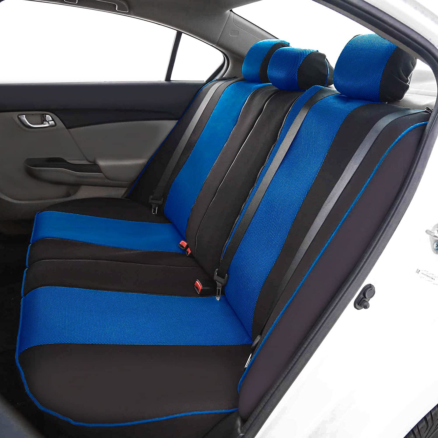 Fit Most Car Airbag Compatible and Split Bench FH Group FH-FB063115 Full Set Sports Fabric Car Seat Covers Solid Black SUV or Van Truck