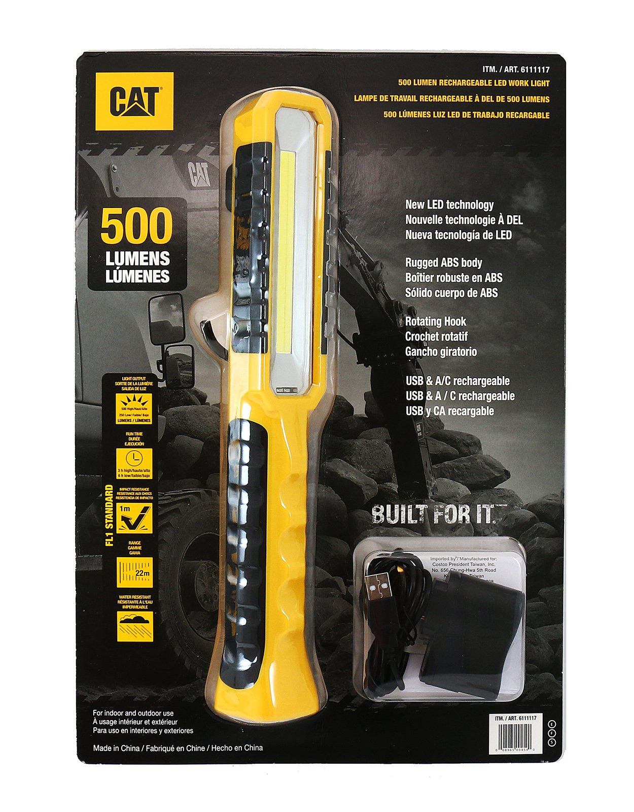 Caterpillar CAT 500 Lumens Rechargeable LED Work Light Flashlight with USB charger Water and Impact Resistant