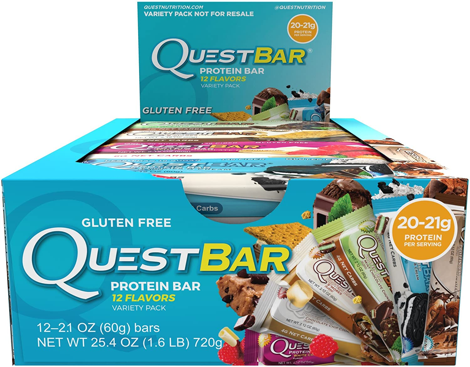 Amazon.com: Quest Nutrition Protein Bar, Best Seller Variety Pack, 12  Flavors, 20 21g Protein, 4 7g Net Carbs, 170 200 Cals, High Protein Bars,  ...