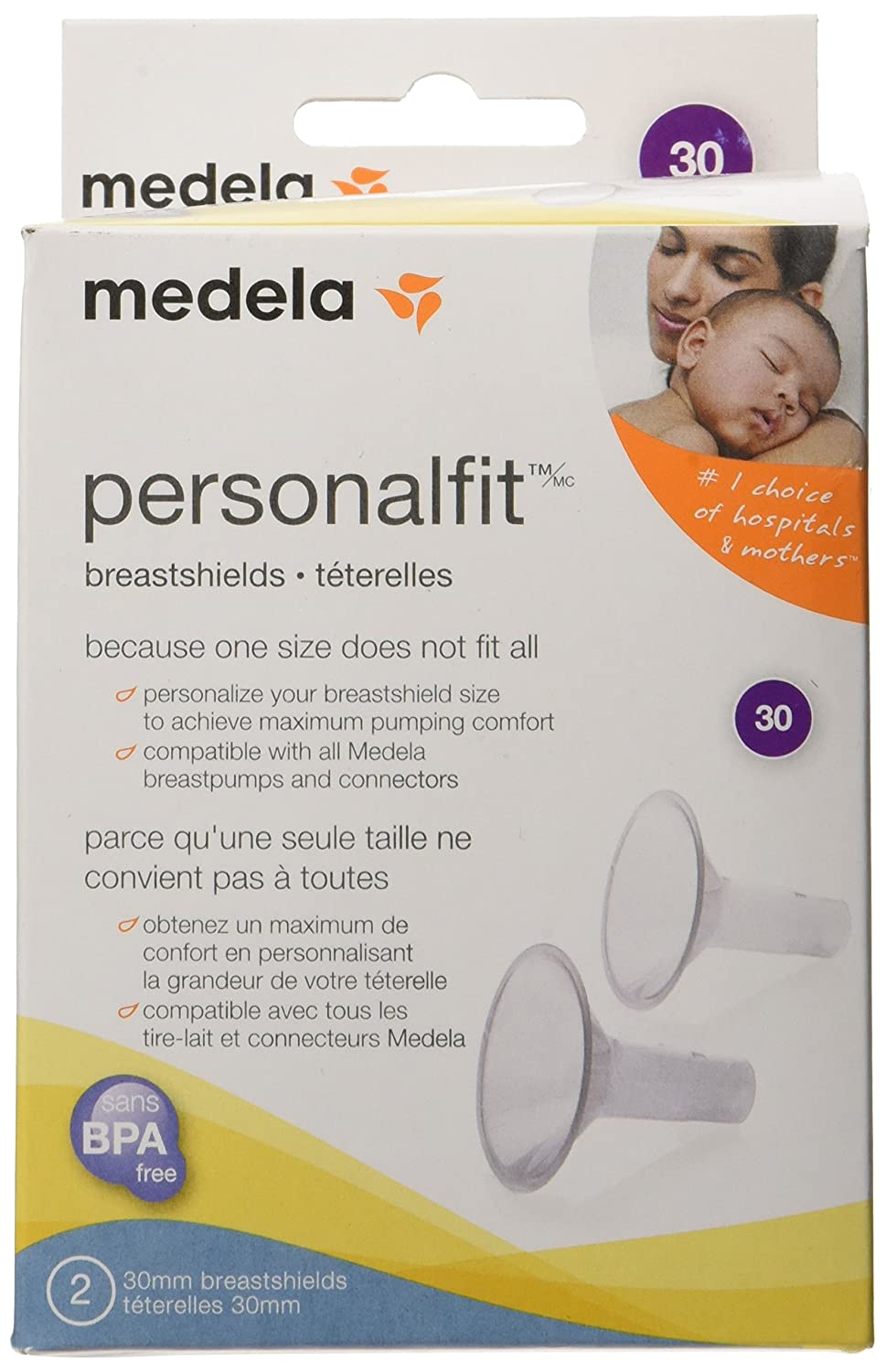 Medela PersonalFit Breast Shields - 30mm Inc. CA 27075 321.c