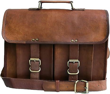 Men /& udult Leather Messenger Laptop Bag Computer Distressed Satchel Briefcase
