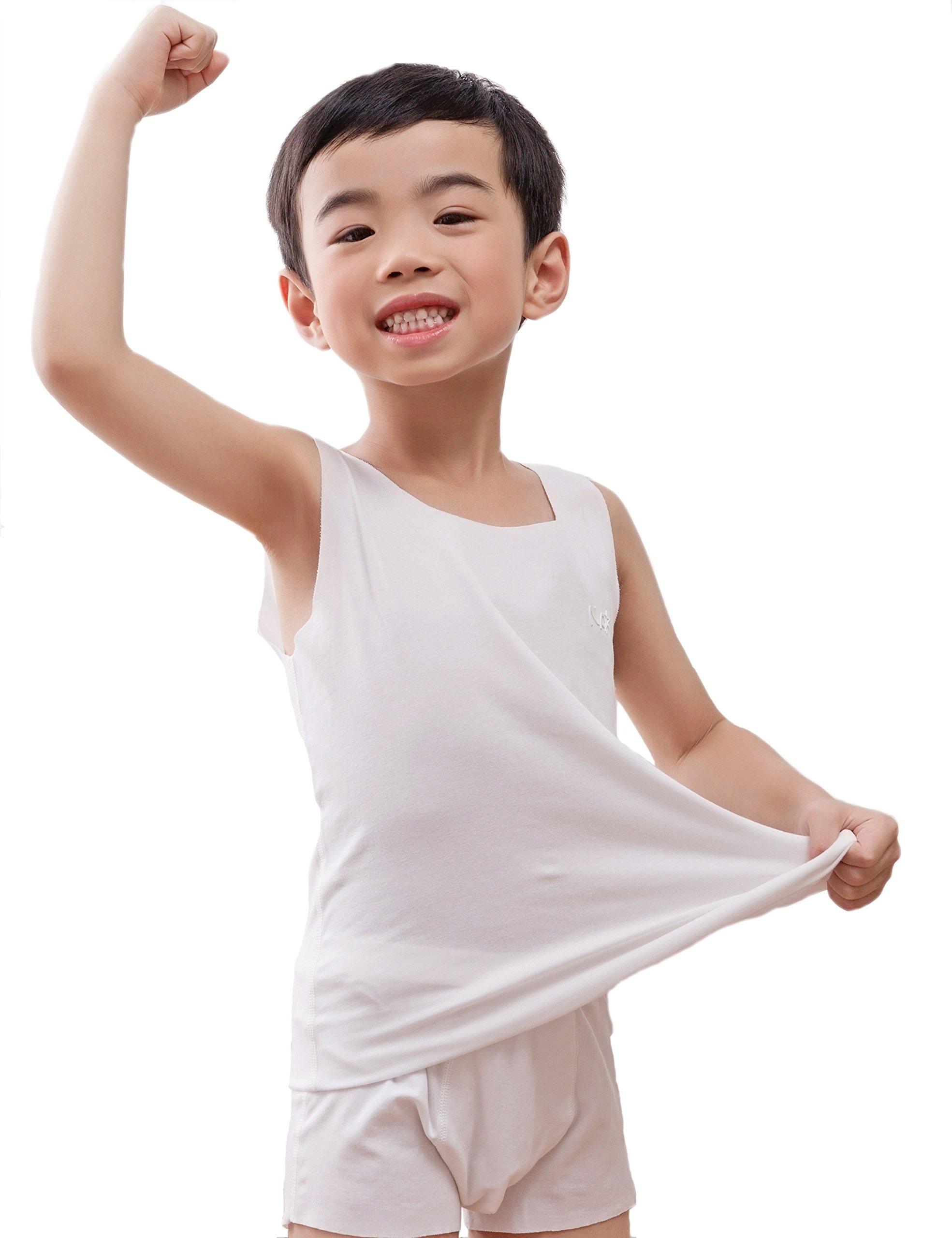 NASSE Boys Cotton Super Soft Sleeveless Undershirts Free-Cut Tank Tops (M, White)